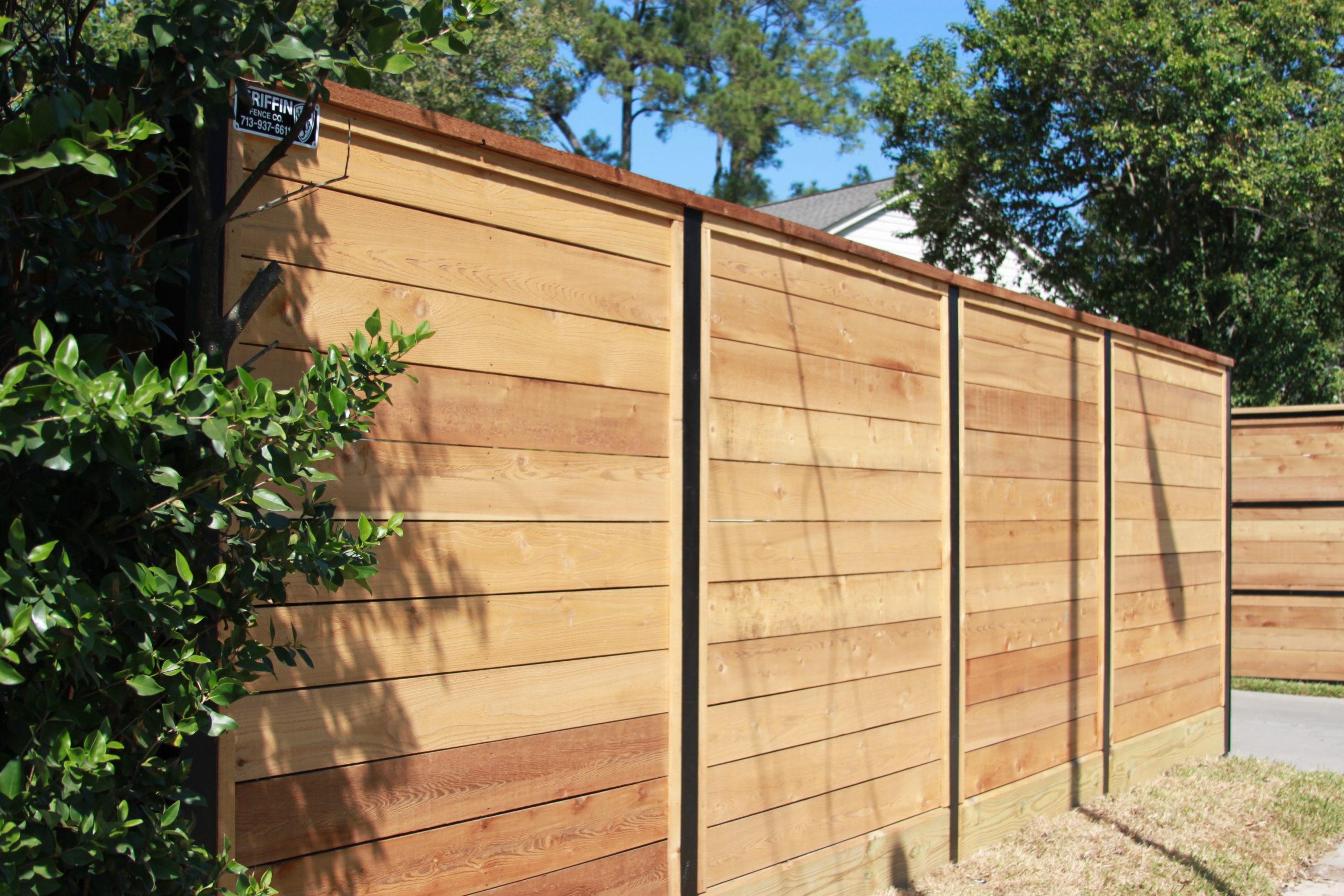 steel framed wooden fence