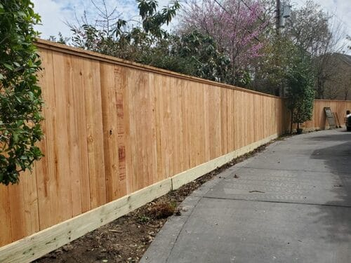 wood fence in spring