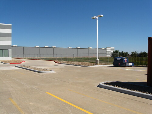 commercial chain link fence at a corporate location