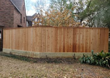 wooden fence in a property