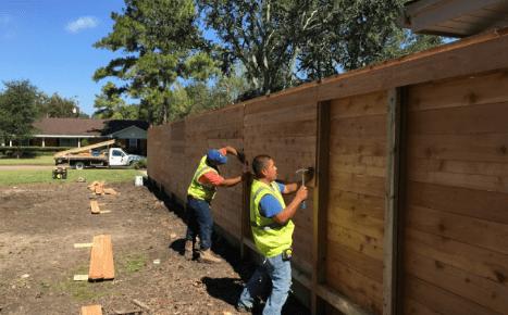 fence contractors building a fence